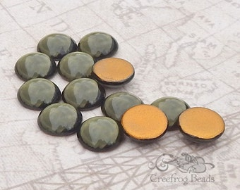 Vintage Cabochons - 13 mm Smoky Grey - 6 West German Glass Stones