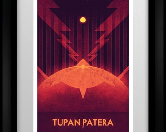 Io - Tupan Patera - Space Travel - Alien Worlds - Retro Minimalist Style - Nasa Inspired Outer Space Decor - Art Deco Print Poster