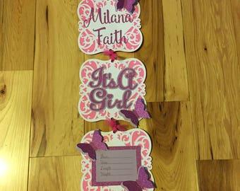 Hospital Door Announcement, Butterfly Hospital Door Hanger, It's A Girl Door Hanger, Personalized Hospital Door Hanger, Pink & Purple