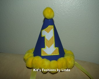Royal  Blue/ Yellow Chevron  Applique Number/Yellow Pom Pom Birthday Hat