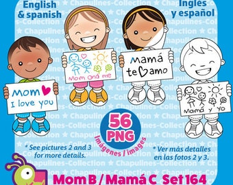 Kids and Mother's day Clipart Bundle, Color and Black and White, Mamá, Día de las Madres, PNG illustrations, Set 164