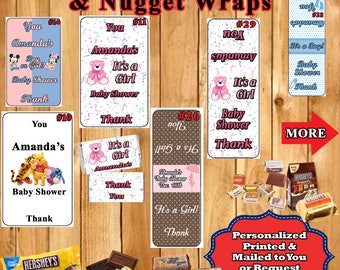 Baby Shower Party Favor Hershey Nugget & Hershey Miniatures Wrappers Labels/Sticker 1 sheet Personalized