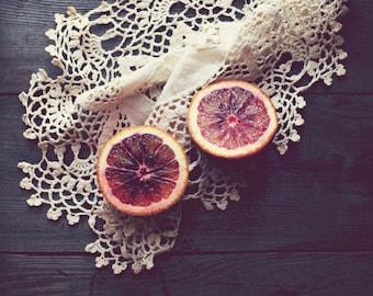 "Rustic kitchen decor - fruit still life - culinary photography - farmhouse kitchen art - food art print  ""Blood Orange"""