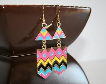Multi colored retro chevron earrings