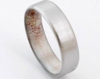 Titanium and antler rings // Mens antler Rings // Antler Wedding Band //Men's wedding Band // beveled edge