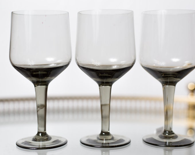 4 Smoke Grey Apéritif Glasses - 5oz Set of Vintage Orrefors Rhapsody Glass (MCM Mad Men 1960's Style Liquor Stemware Barware)