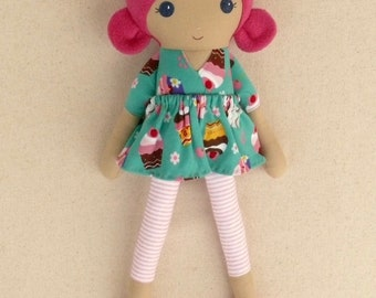 Fabric Doll Rag Doll 20 Inch Magenta Pink Haired Girl in Teal and Pink Cupcake Dress