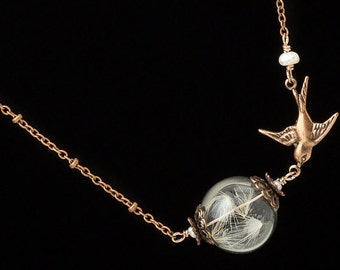 Dandelion Necklace, dandelion seed glass orb necklace, terrarium necklace, copper bird & pearl pendant, wish necklace, jewerly Gift 2621