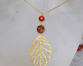 Leaf Necklace , Autumn Necklace , Gold Leaf Necklace , Fall Jewelry