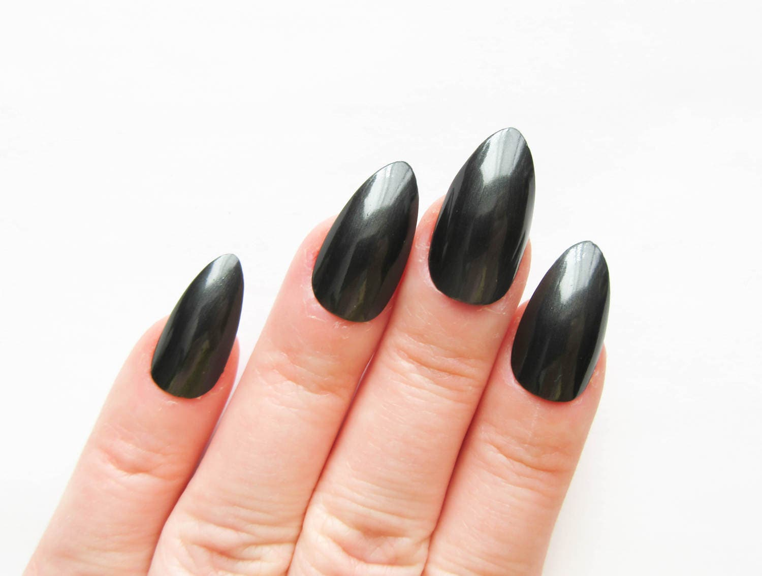 Black Pearl Nails / Fake Nails / False Nails / Acrylic Nails / Press ...