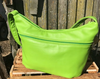 Bright Green Leather Purse- medium size leather purse for women-leather shoulder bag-handbag-made in USA-Brenda Style other colors available