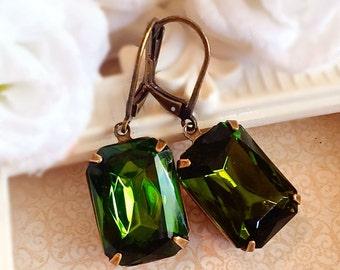 Art Deco Earrings - Olive Earrings - Victorian Earrings - Art Deco Jewelry - Green Earrings - WINDSOR Olive