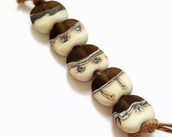 Java - Handmade Artisan Lampwork Glass Bead Set of Five Etched Tabular Beads in Ivory, Silver and Dark Brown