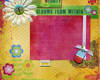 Beauty Blooms From within - Premade Scrapbook Page