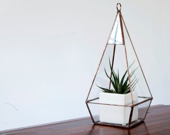 Glass Terrarium - Teardrop Terrarium / Hanging Terrarium / Display Box / Candle Holder by Geodesium