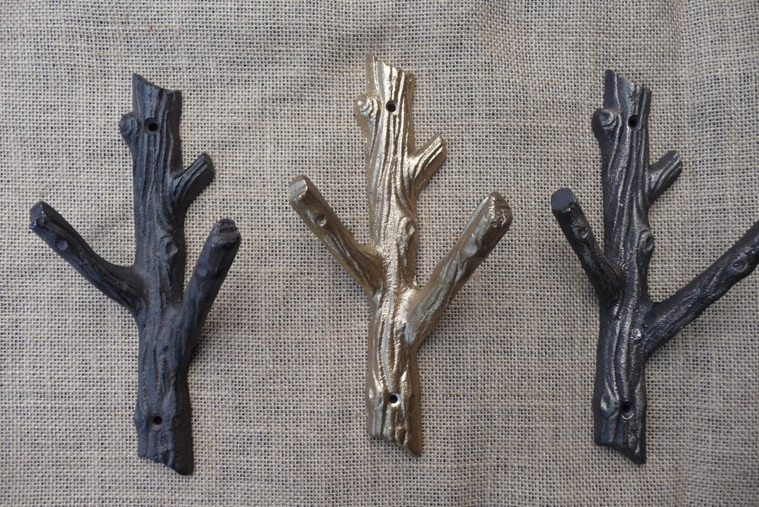 Rustic tree branch wall hook cast iron metal or gold coat zoom amipublicfo Choice Image