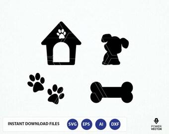 Dog SVG File. Dog Cut File. Dog Png. Dog Cricut. Dog Cameo File. Dog House, Bone, Paw Prints Svg. Dog Vector. Puppy Svg. Paw Monogram Svg