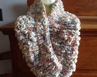 super bulky and roomy vegan  cowl made with reclaimed yarn