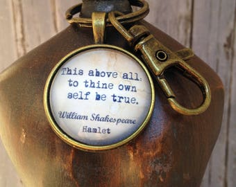 Keyring  - Antique Bronze Finish with Shakespeare quote.