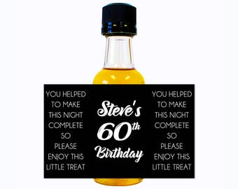 Custom Liquor Mini Bottle Labels - Adult Birthday Favors - Personalize with Custom Text & Color - Mens Womens 60 Birthday Party Celebration