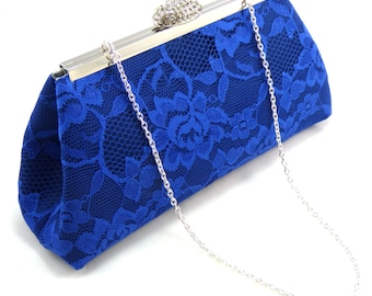 Navy, Royal Blue and Steel Grey Bridal Clutch, Something Blue, Mother of the Bride Gift, Bridesmaid Clutch, Bridesmaid Gift, Wedding Clutch