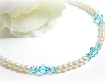 Something Blue for Bride, Something Blue Anklet, Swarovski Crystal Anklet, Bridal Anklet, Beaded Anklet, Adjustable Anklet for Women