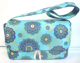 """Large 4"""" Size Coupon Organizer Coupon Bag Budget Holder Box Attaches to Your Shopping Cart Turquoise Purple Medallion - Select Your Size"""