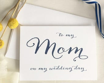 To My Mom On My Wedding Day, Card Mother Of The Bride Card, Mom Of Bride Gift, Mom Gift Wedding, Navy Wedding Card, Mother of Groom Gift