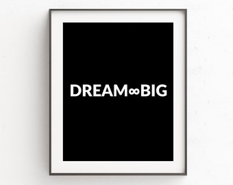 Quote Prints, Inspirational Quotes, Quote Poster, Scandinavian Print, Dream Big, Wall Art Quotes, Bedroom Wall Art, Printable Wall Art