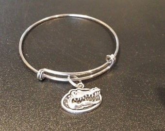 University of Florida Gators Inspired Silver Tone Expandable Bracelet with a charm