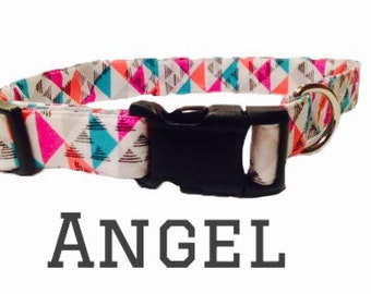 Pink/teal multi-color collar