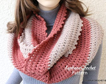 Crochet Scarf PATTERN, Infinity Scarf Two Colors, Circle Scarf, DIY Scarf, Gift For Her, Instant Download, PDF Pattern #141, Lyubava Crochet