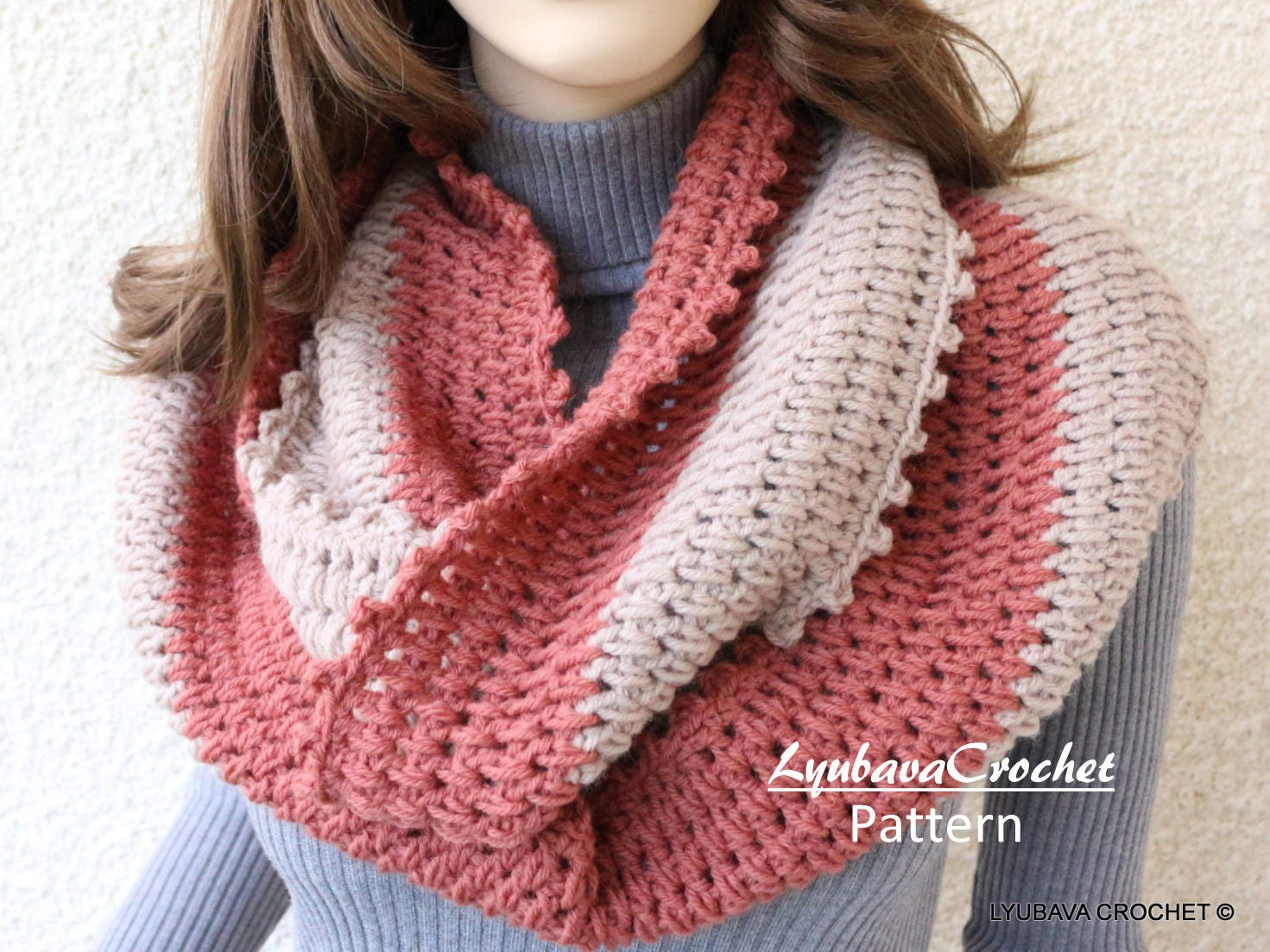 Crochet Scarf PATTERN Infinity Scarf Two Colors Circle