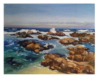 Ocean Scape Coastal Beach Original Fine Art Oil Painting Wall Decor 11 x 14 Coastal California