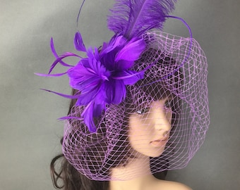 Purple Feather Fascinator Headband Hair Clip  Fascinator with Feathers and Veiling Christmas Fascinator Derby Fascinator hat