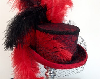 Victorian burlesque red and black lace feathered top hat