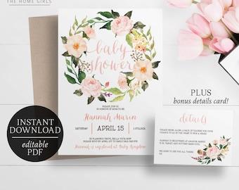 Printable Baby Shower Invitation Template | Editable PDF | Floral Boho Tribal Invitation | Blush Flowers | Pink Floral | Flower Wreath