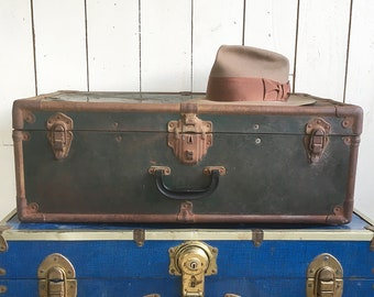 "Distressed 1950s Metal Sided Suitcase, Small Trunk ""Great for Stacking, Storage or Side Table"""