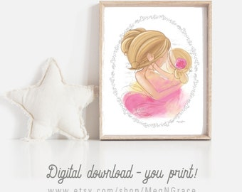 INSTANT DOWNLOAD  Set of 2 Printable Art, Girl's Room Decor, Blonde Mother and Daughter, Unique Gift for Baby Shower, New Mom, Mother's Day