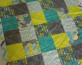 modern patchwork baby blanket keepsake quilt - fresh and clean - citron yellow, grey, teal, white, chevron,  ice blue fluff