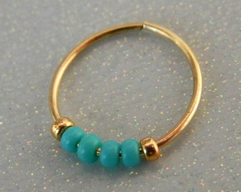 nose ring hoop // turquoise nose ring // gold nose hoop