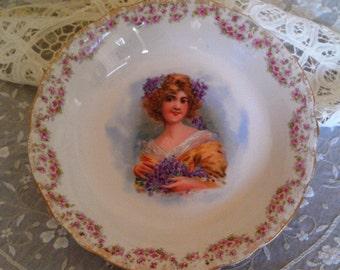 Portrait Antique Lebeau Porcelaine Bowl