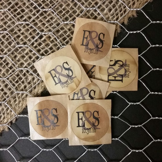 "Monogram Initials 1"" STICKER Personalized Wedding Engagement Shower Favor STICKER choose your amount"