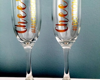 Cheers & #Bottomsup Champagne Flute