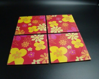 Vintage floral glass drinks coasters red, orange, pink and yellow, 70s flower pattern, set of 4, very bright and cheerful, good quality.