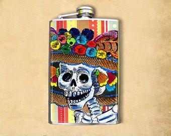 Flask 8oz Skeleton Lady #128