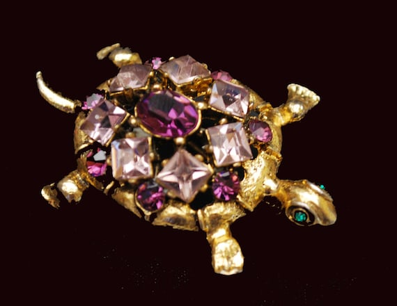 Turtle Brooch - Purple Rhinestone - Gold -  figurine pin -  Gift for her