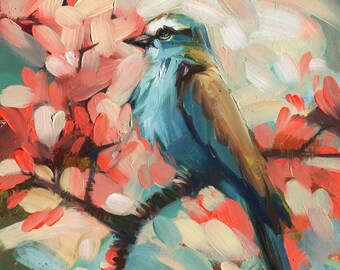 Bird oil painting original art Birds Painting, Bird illustration, Colorful birding art, Birds on branch, Blue Pink Bird art Picture small