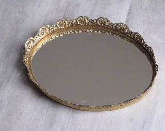 Vintage Oval Vanity Mirror with Gold Scalloped Edge