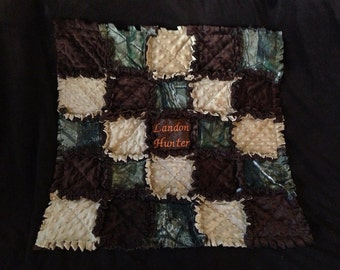 Real tree camo baby quilt blanket with safety orange momogrammed
